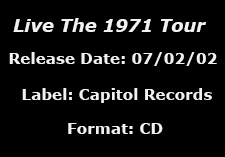 Live The 1971 Tour data